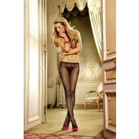 Baci Black Mesh Pantyhose with Corset Lacing
